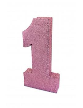 CHIFFRE 1 ROSE GLITTER