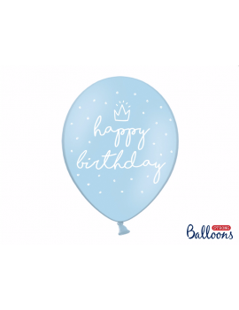 6 BALLONS BLEUS HAPPY BIRTHDAY