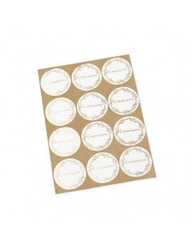 24 STICKERS RONDS COMMUNION OR