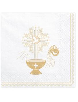 SERVIETTES BAPTÊME OR