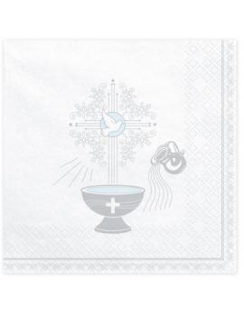 SERVIETTES BAPTÊME ARGENT