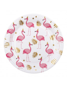 ASSIETTES FLAMANT ROSE ET OR