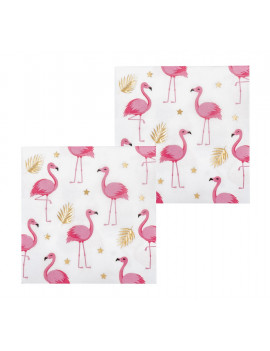 SERVIETTES FLAMANT ROSE ET OR