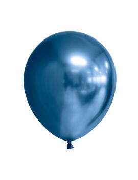 10 BALLONS CHROME BLEUS