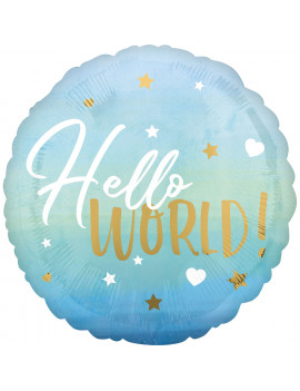 BALLON HELLO WORLD BLEU