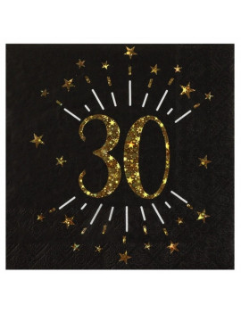 SERVIETTES 30 OR & NOIR