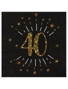 SERVIETTES 40 OR & NOIR